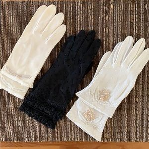 THREE pairs of vintage beaded gloves